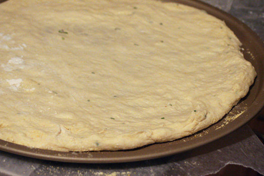 Masa de pizza con harina de aceitunas deshidratadas