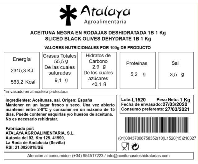 Aceituna Negra en Rodajas Deshidratadas