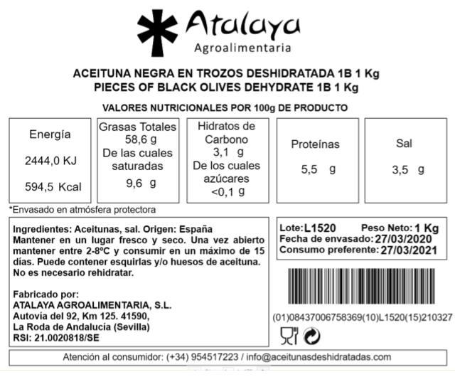 Aceituna Negra en Trozos Deshidratada