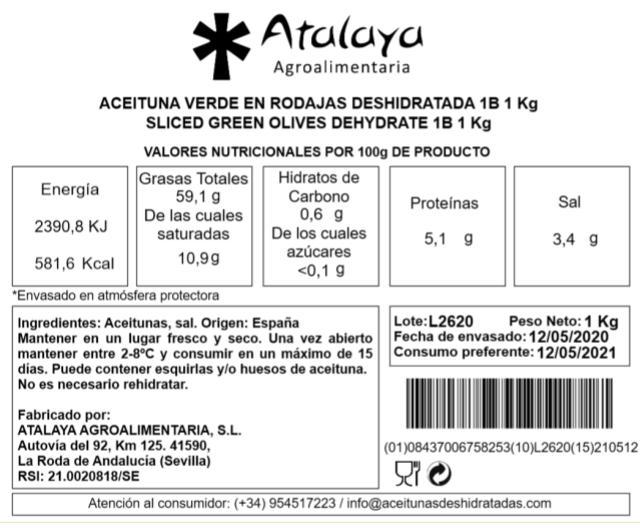 ACEITUNA VERDE EN RODAJAS DESHIDRATADAS - AVR90