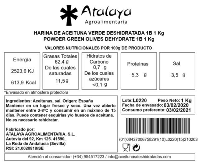 HARINA DE ACEITUNAS VERDES