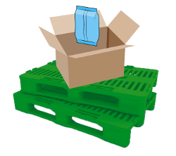 Icono de envasado, empaquetado y paletizaje.